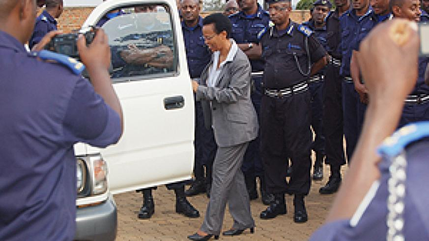 REMA boss Dr Rose Mukankomenje hands over a vehicle to police boss yesterday (Courtsey photo)