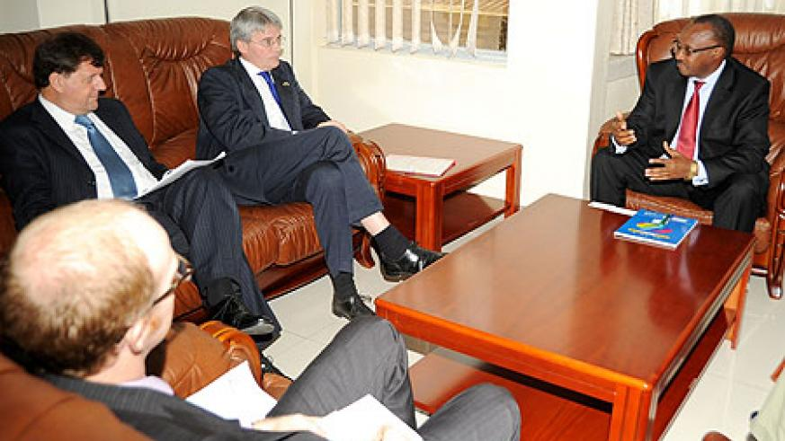 Minister Musoni with Andrew Mitchell.(File Photo)