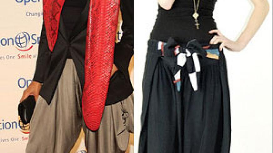 L-R : ciara in a silk harem pants ; A model in a balck belted harem pants