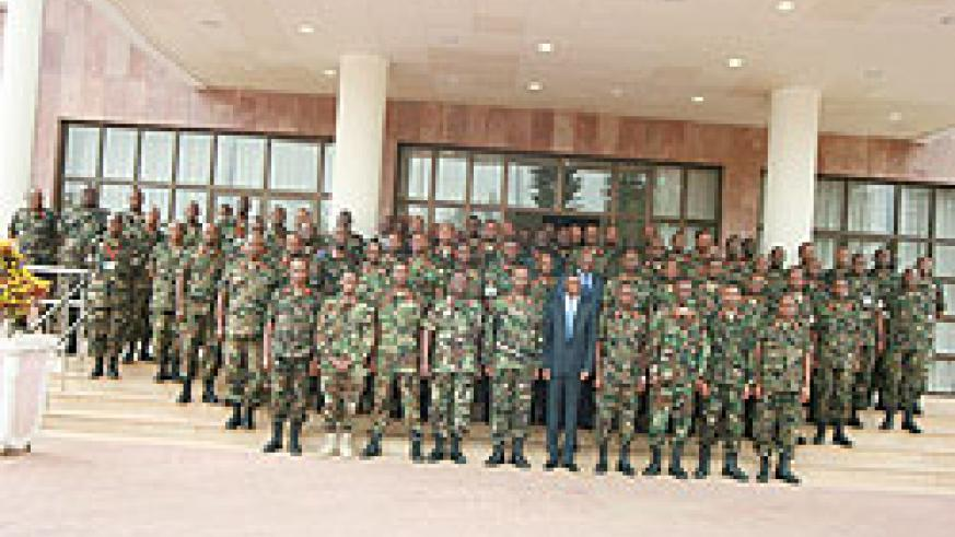 Senior members of the RDF pose for a group photo at the opening of the three-day retreat that started in Kigali yesterday (Courtsey Photo)