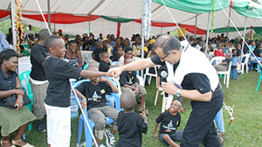 MTN CEO Khaled Mikkawi having fun with the kids.