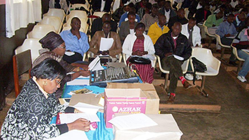 Local leaders listen to selection creteria for vulnerable children, yesterday.(Photo A.Gahene)