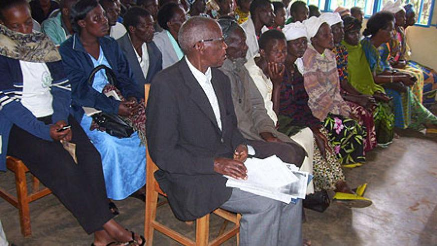 A section of genocide survivors' committees at the screening in Kageyo Sector yesterday.(Photo by A.Gahene)