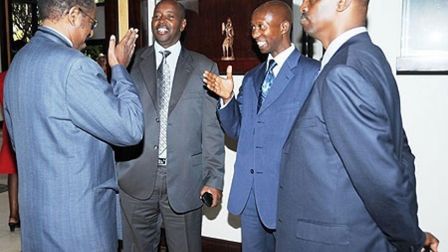 Ministers James Musoni of Local Government (2L) and Musa Fazil Harelimana of Internal Security (2R) with Spokesperson of the RCSP Eugene Rwibasira and Deogratius Kayumba from National Human right Commission at the conference yesterday. (File Photo)
