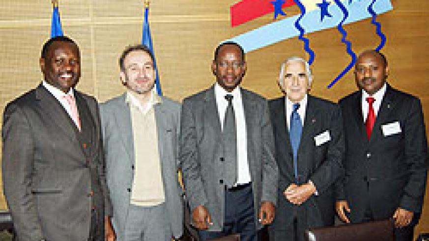 PSF president Robert Bayigamba (R), RDB CEO John Gara (middle) and Rwanda ambassador in France Jaques Kabare with the French delegation (Courtsey Photo)