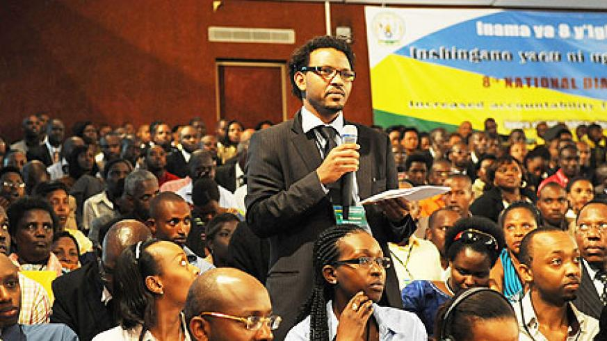 A member of the Rwandan Diaspora from Iceland gives his contribution at the highly interactive National Dialogue that ended yesterday(File Photo)