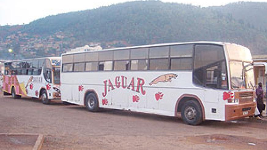 Jaguar Buses at the international terminal in Nyabugogo park. Transporters are cashing in on the festive season (File Photo)