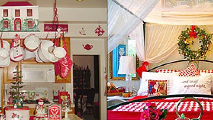 L-R : Vintage Kitchen Red-White Christmas Decoration ; Bedroom decorated in christmas theme