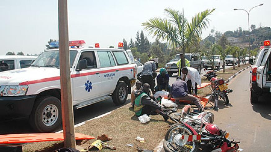 Medics attending to accidents victims, many road accidents have been blamed on over speeding by motorcyclists (File photo)