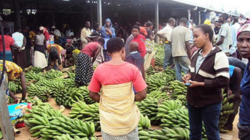 Nyamata main market. Farmers tend to sell all food and don't stock enough for future use. (Photo S. Rwembeho).