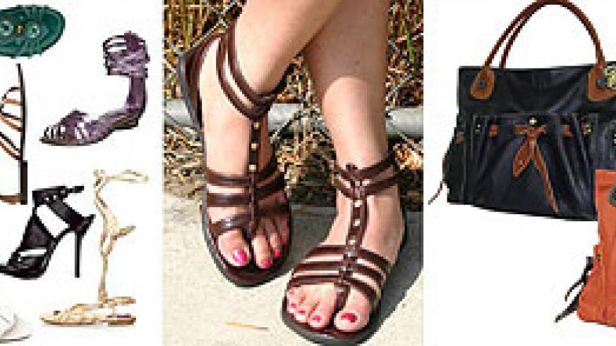 L-R : Gladiator shoes ; Gladiator-sandals ; Tote bags
