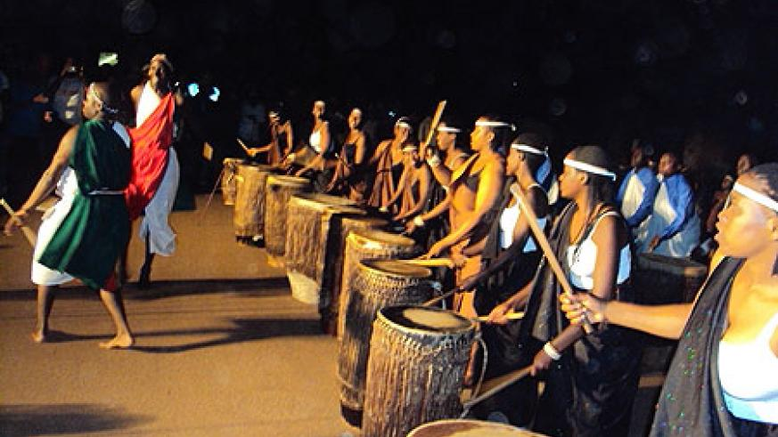 Ingoma Nshya women drummers and Burundians performing at the opening of the festival  (Photo J.P Bucyensenge)