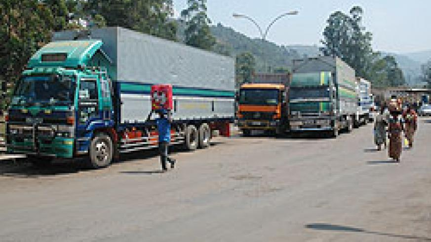 Trucks transporting goods at the the Gatuna border post. The Northern Corridor is set to benefit from the an EU grant to COMESA (File Photo)