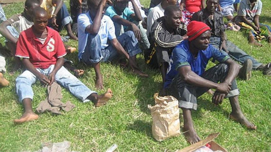 Some of the suspects arrested in possession of illicit drugs in Musanze (Photo B Mukombozi)