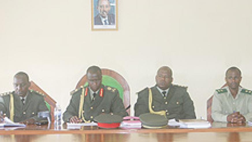 Brig Gen John Peter Bagabo (2nd left) presided over the trial (Courtsey Photo)