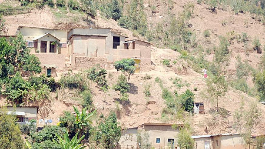 Some of the houses bult on sloppy hills in Kimisagara. The District has threated to raze down illegally built houses (Photo T.Kisambira)