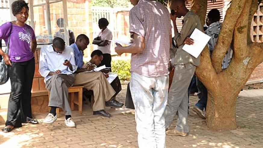 Students at the SFAR offices filing the required paper to lodge in their complaints
