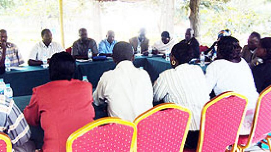 Members of Nyagatare Maize innovation platform and RIU officials during the retreat at La Palisse hotel in Gashora sector