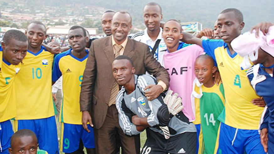 Ferwafa boss John Bosco Kazura (c) joins in on the celebrations after today's 1-0 win over Egypt which not only qualifies Rwanda to the semi-finals of the Caf U-17 championship but also seals a slot to the U-17 Fifa World Cup which will be held in Mexico.