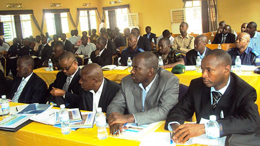 Officials at the stakeholders' meeting  in the Eastern Province (Photo by S. Rwembeho).