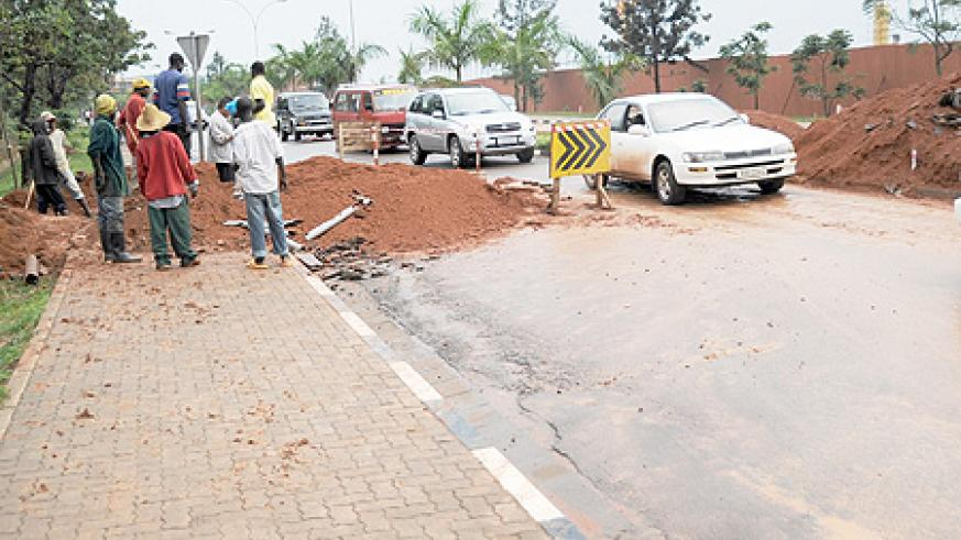 Road works have caused traffic jam on different Kigali streets