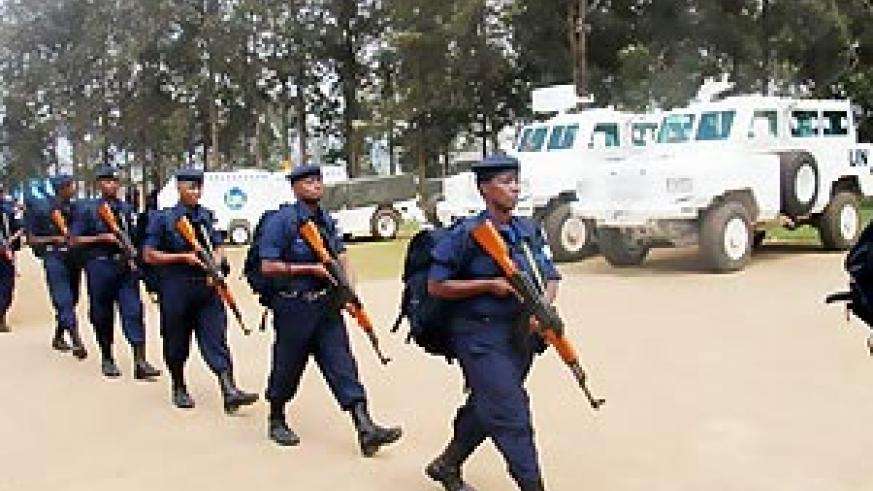 Police officers leaving for Haiti last year. Haitians have said that Rwanda is their model country (File Photo)