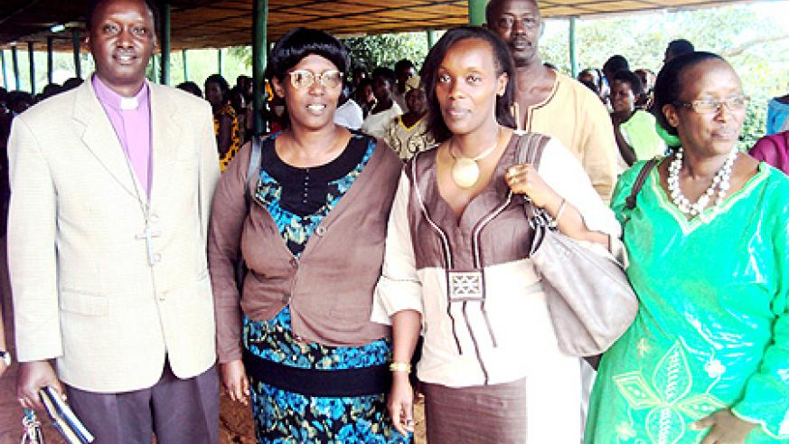 Dr. Diane Gashumba (2nd L) and Msgr Alex Birindabagabo at the women's function in Gahini. (Photo / S. Rwembeho)