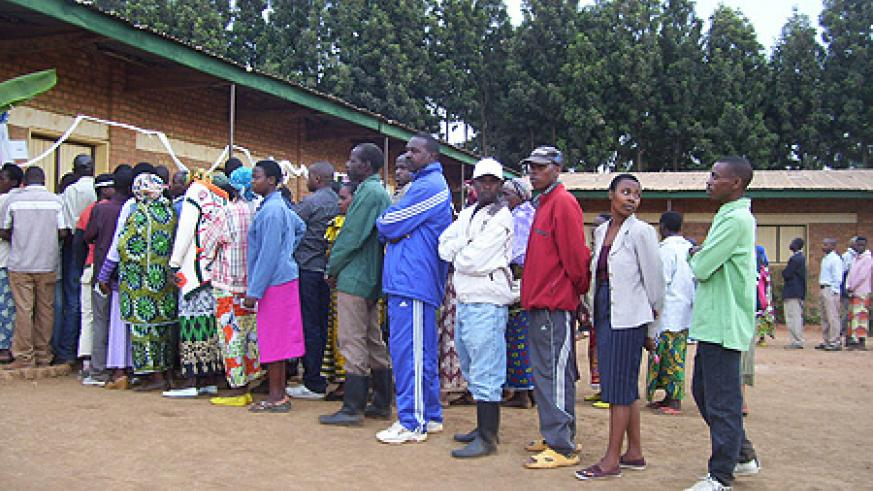 Gicumbi residents participate in past election at Inyange Primary School. (File Photo)