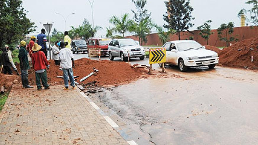 Road works are ongoing on various city streets