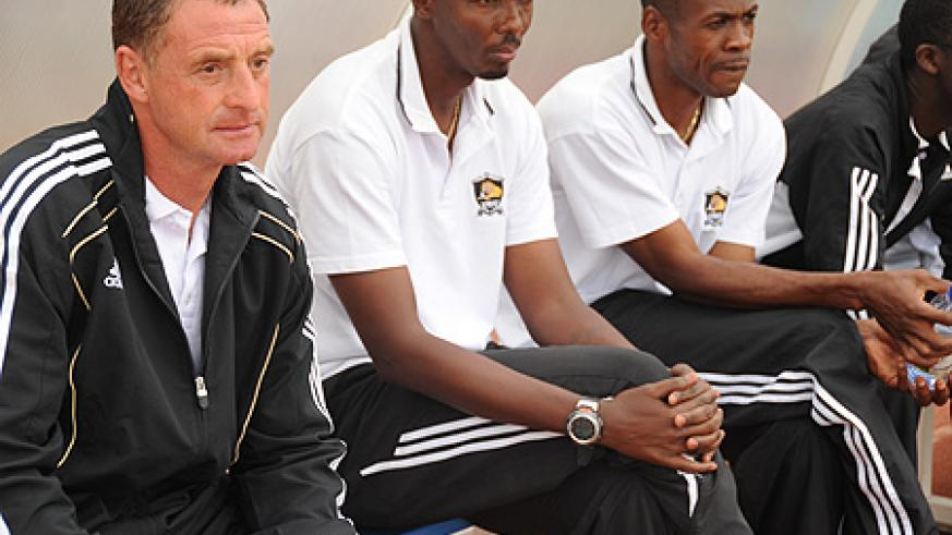 APR coach Ernest Brandts and his assistants during a previous Primus league game. The Dutchman still has a 100% record after winning his opening nine games. (File Photo)
