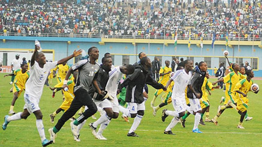 Rwanda U-17 players in celebrations after sealing a historical African final place. (Photo: T. Kisambira)