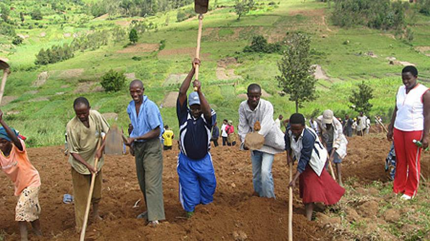 Communities convene to help one another to till land, plant crops and weed under the Ubudehe propramme. (Net Photo)