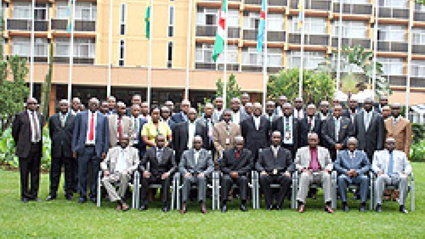 Regional Defence Chiefs from CEPGL countries and staff members at the opening of their session in Kigali yesterday (Courtsey Photo)