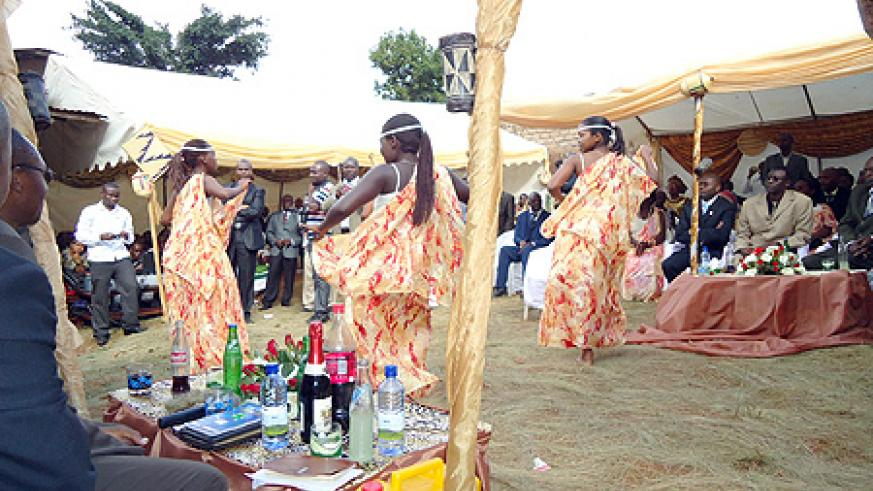 Traditional dancers at a wedding ceremony.