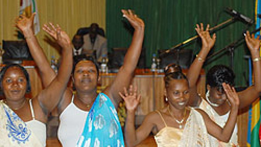 A group of women MPs wave after taking their oath in 2008. American academics have hailed Rwanda on gender policy (File Photo)