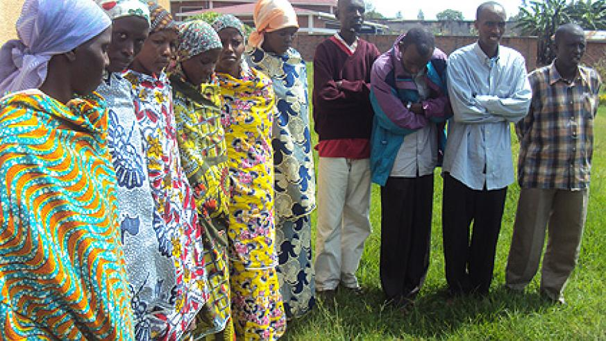 Members of the suspected cult held at Muhoza Police station.(Photo B Mukombozi)
