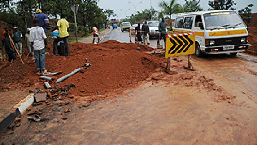 Renovation works on the Airport Boulevard. (File Photo)