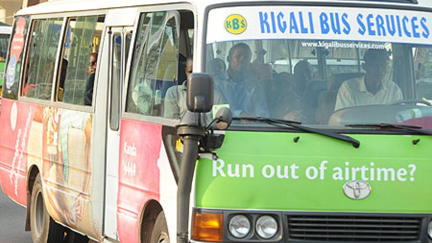 A mini-bus belonging to Kigali Bus Service. The company has laid off 40 employees