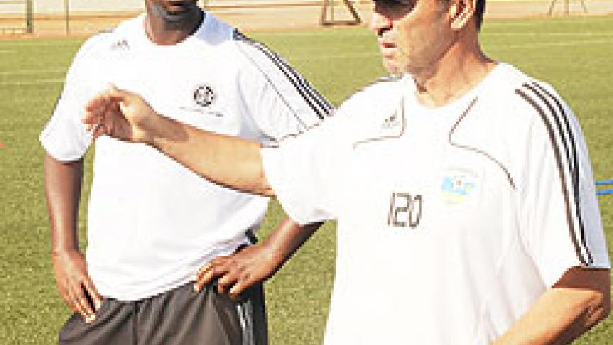 Richard Tardy (right), seen here with his assistant Vincent Mashami during a past team's training session. (Photo: T. Kisambira)