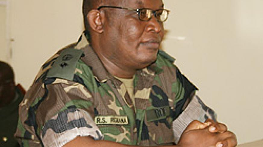 Lt Col Rugigana Ngabo before the military court on Thursday (Courtsey Photo)
