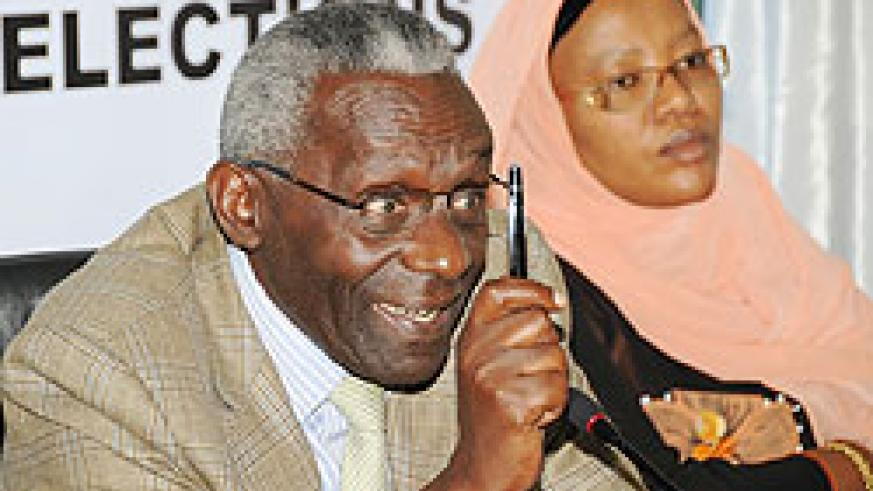 NEC chairman Prof Crysologue Karangwa and his vice Fatou Harerimana at a recent press conference (File Photo)