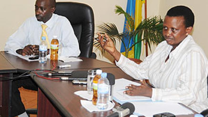 Mary Gahonzire, the Commissioner General of Prisons, and Asiimwe Kamasa, the acting director of Finance, speaking to journalists, yesterday (Photo T.Kisambira)