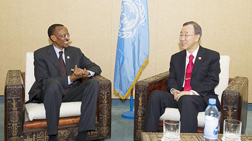 President Kagame meets UN Secretary General, Ban Ki Moon, on the sidelines of the AU Summit in Addis Abeba that concluded yesterday. (Photo Village Urugwiro)