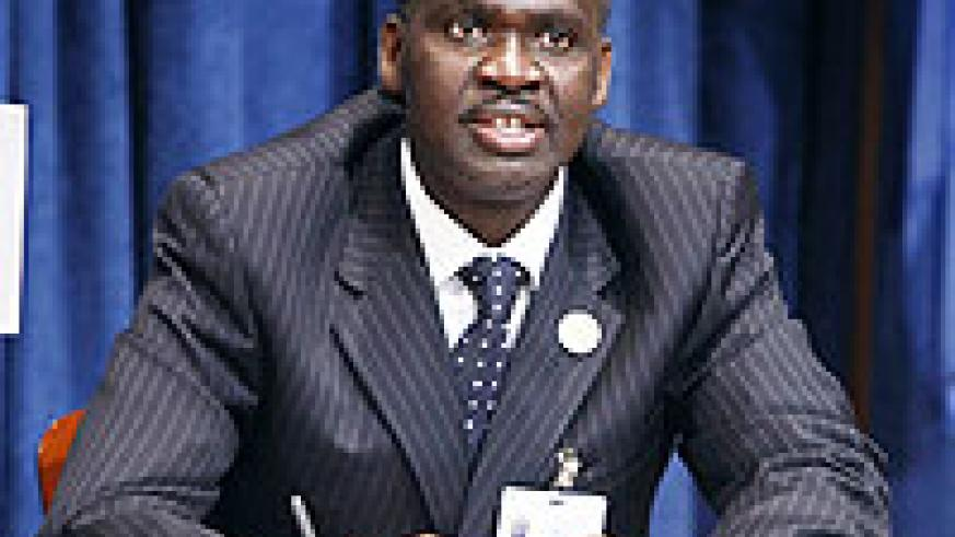 Stanislas Kimanzi addressing a joint press conference on the 2011 UN session on Wednesday