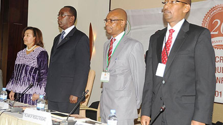 (L-R) Dr Frannie Leautier, the ACBF Executive Secretary, Prime Minister Bernard Makuza, Paul Baloyi  the  chair of the ACBF Executive Board, and the Minister of Finance, John Rwangombwa, during the opening ceremony, yesterday. (Photo T.Kisambira)