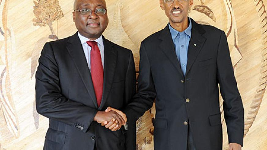 President Kagame with the AfDB president, Dr Donald Kaberuka, after their meeting yesterday (Photo Urugwiro Village)