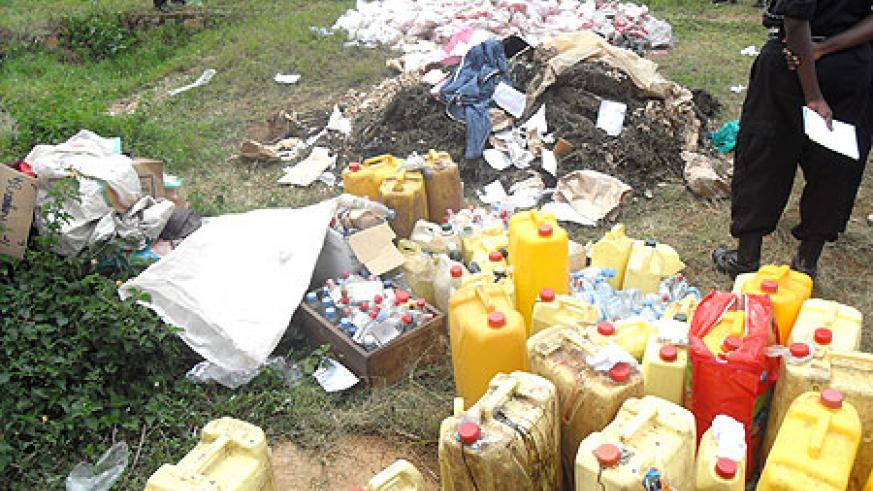 Some of the illicit drugs that were destroyed yesterday (Courtsey Photo)