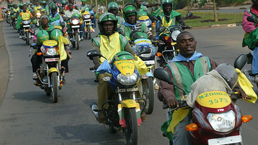 Taxi Moto operators in Kigali City. Authorities have blamed the recent crackdown on illegal operators (File Photo)