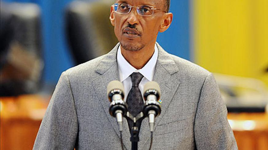 President Kagame making the State of The Nation Address, yesterday. (Photo Village Urugwiro)