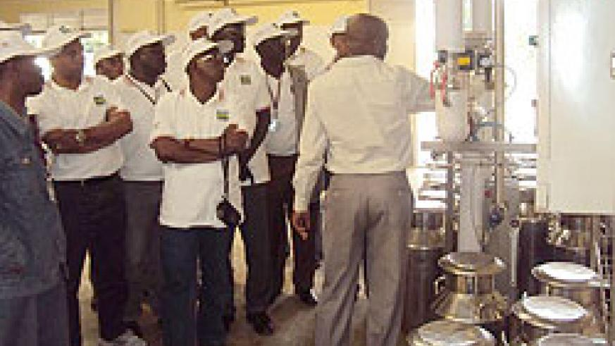 A delegation from International Organisation for Animal Health touring Nyagatare milk plant on Thursday. (Photo: D. Ngabonziza)
